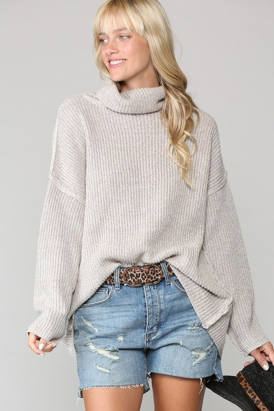 Oversized Mock Knit Sweater, Oatmeal