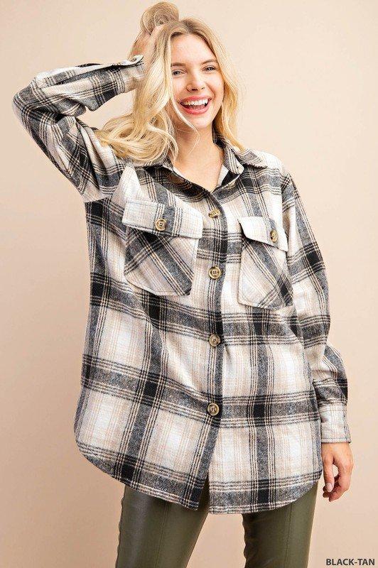 Plaid Shirt Jacket, Black/Tan