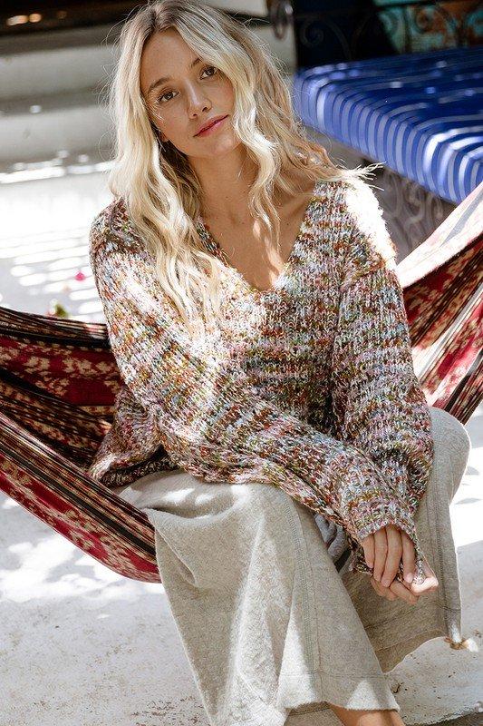 V-Neck, Multi Color Sweater