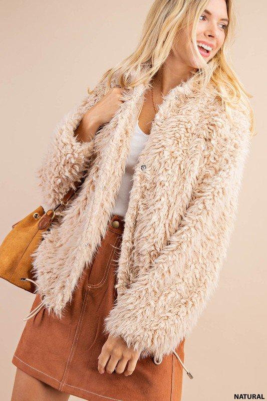 Soft Faux Fur Jacket, Natural