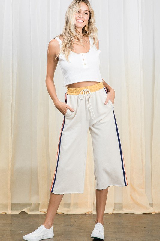 French Terry Wide Leg Capri Sweats, Cream Multi