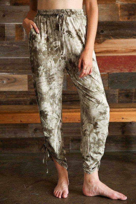 Side Seam Ruched Sweatpants, Olive