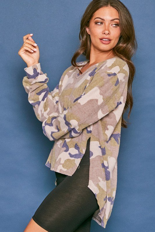 Long Sleeve Brushed Camo Pleat Top