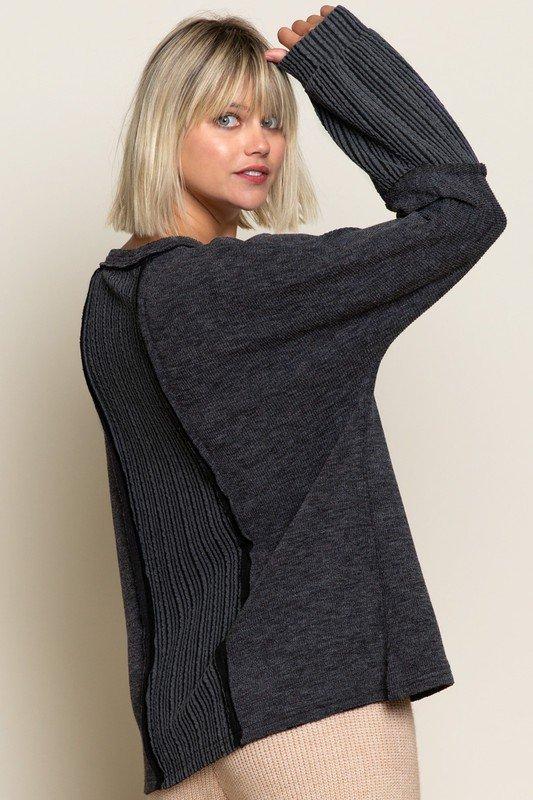 Long Sleeve Charcoal Multi