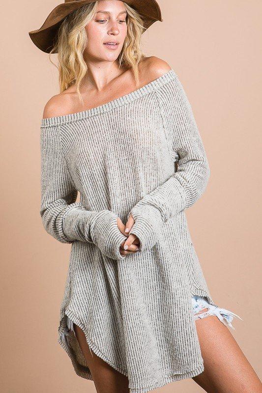 Soft Brushed Ribbed Long Sleeve Tunic, Taupe Grey