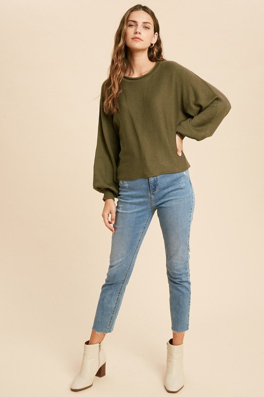 Boat Neck Pullover Sweater, Olive