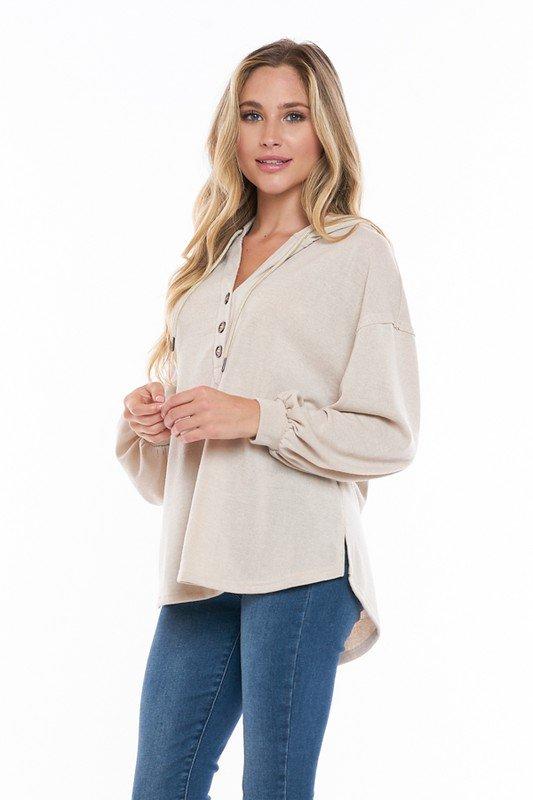 Button Up Long Sleeve w/ Hood, Cream
