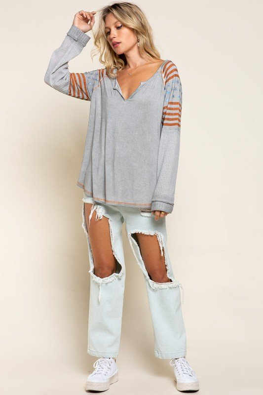 Salute American Knit Long Sleeve, Stone Grey