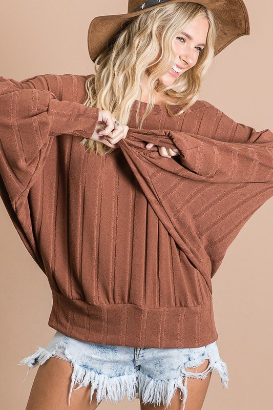 Dolman Long Sleeve, Round Neck, Brown