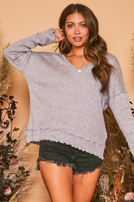 Solid Long Sleeve Knit With Lettuce Hem Detail