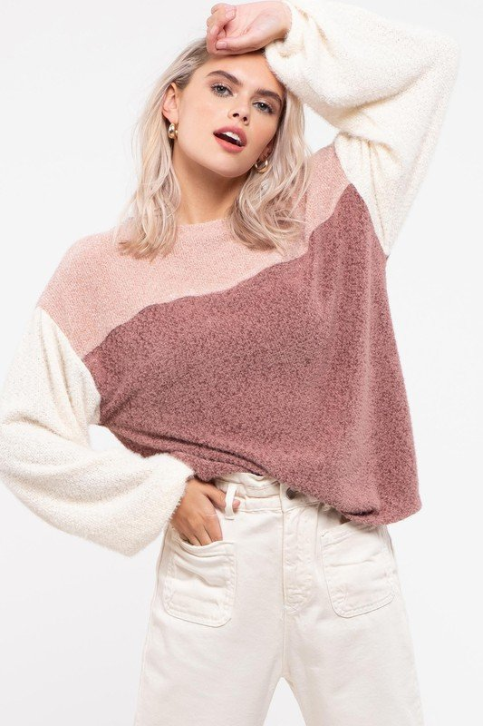 Crew Neck Drop Shoulder Balloon Sleeve, Dust Pink