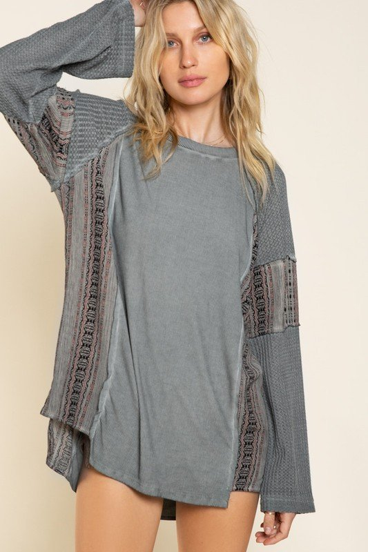 Long Sleeve Charcoal Multi Textured Top