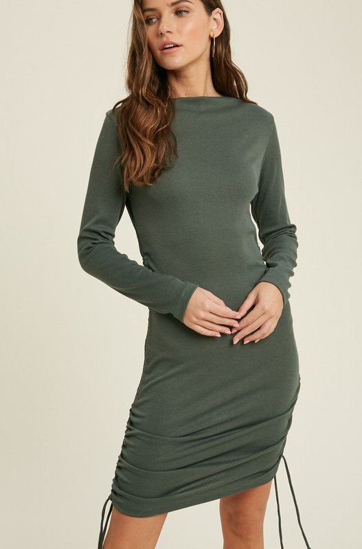 Ruched Bodycon Mini Dress, Green/Shell