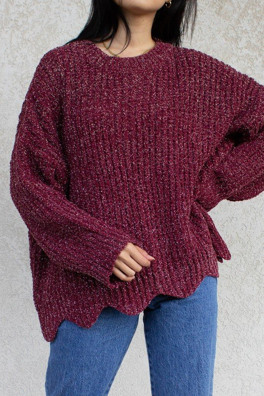 Shimmer Knit Scalloped Hem, Burgundy & White