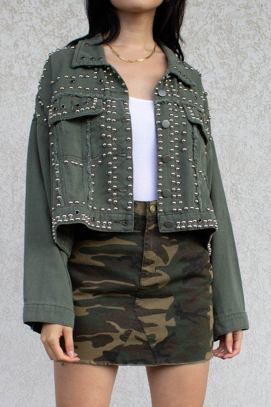 Denim Studded Jacket, Olive