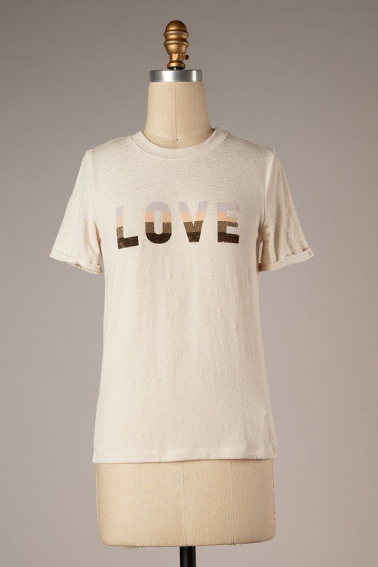 Rollup Sleeve Graphic Tee, Ivory