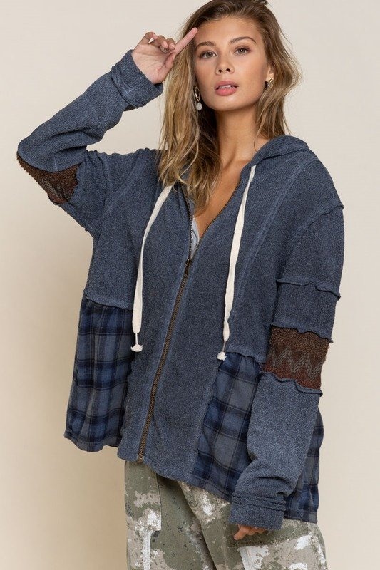 Top, Blue Zippered, Swing Hoodie w/Plaid