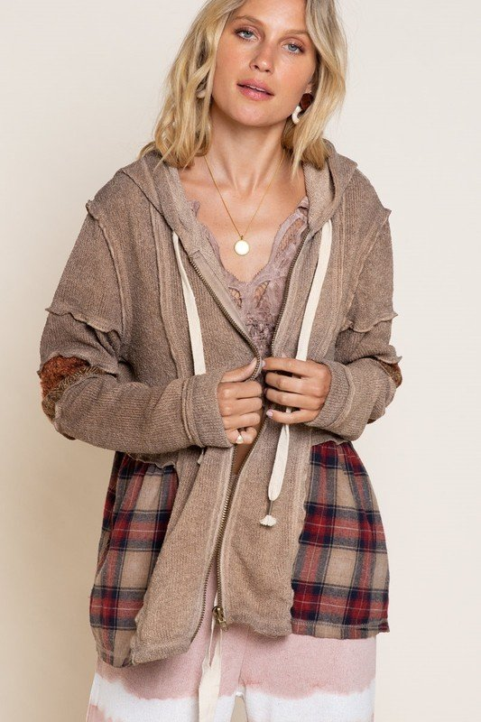 Top, Brown Zippered Swing Hoodie w/ Plaid