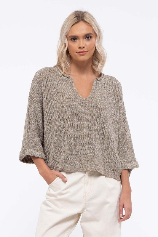 Sweater, Sage Voop Neck, 3/4 Sleeve