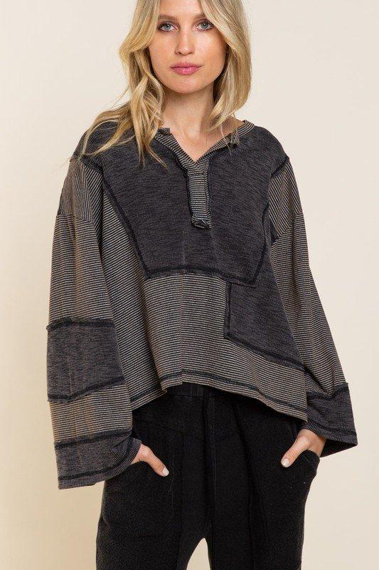 Top, Multi Stripe Grey & Brown