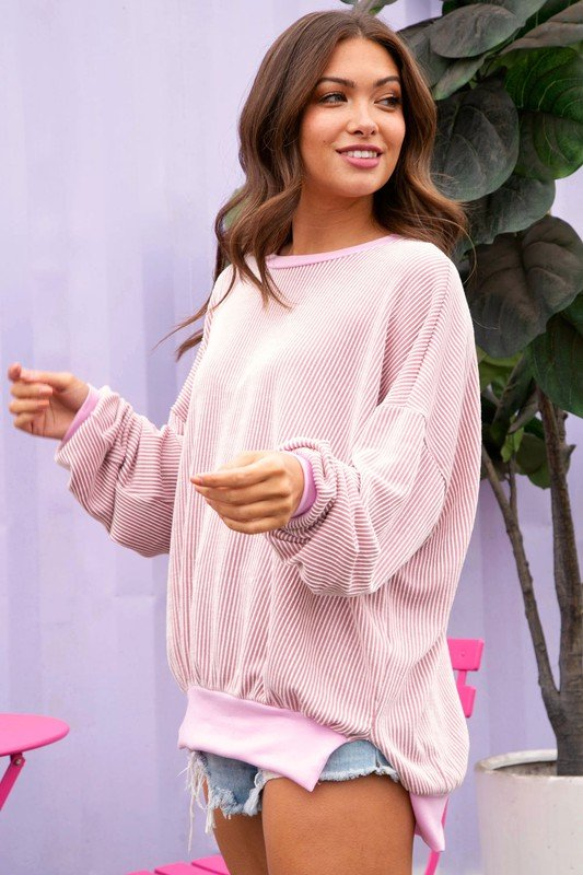 Long Sleeve 2-Tone Rib Knit, Dusty Peach/Pink