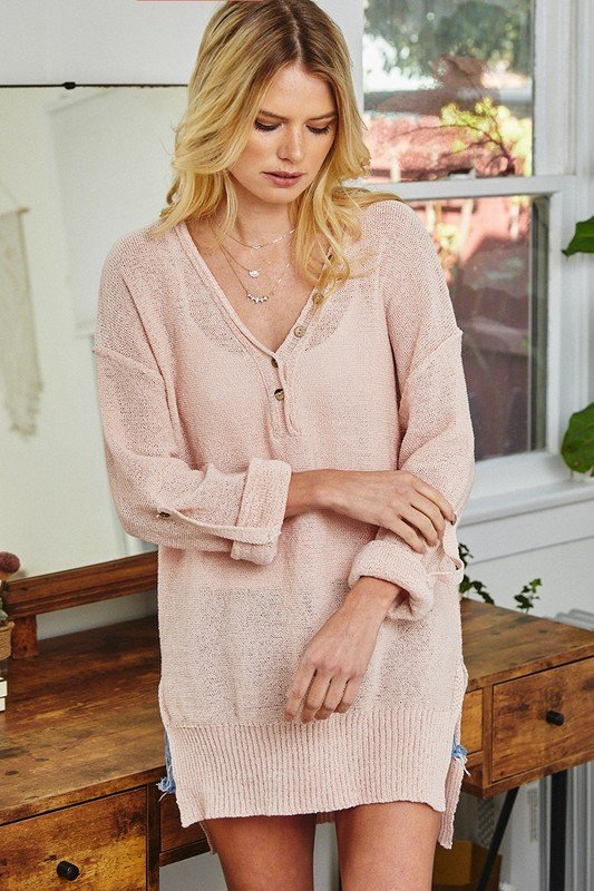 Roll-Up Sleeve Sweater , Blush