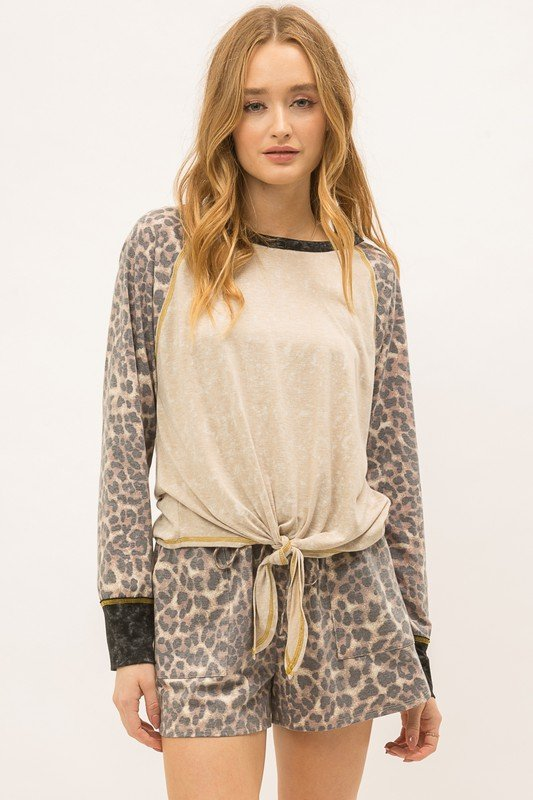Top, Cheetah Sleeve w/ Tie Front