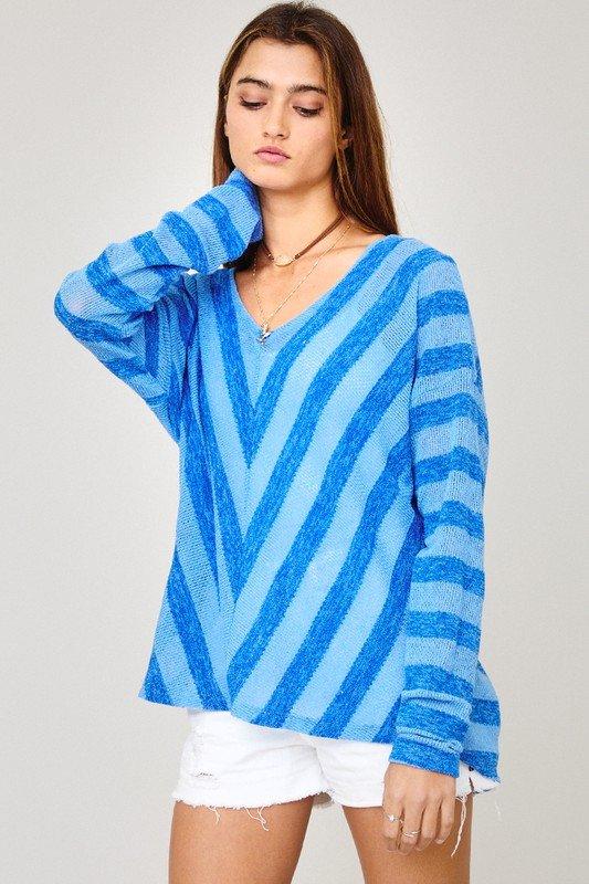 Chevron Stripe Sheer Top, Blue