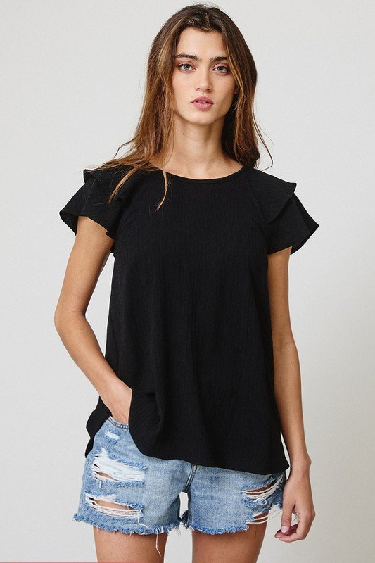 Flared Sleeves Solid Top, Black