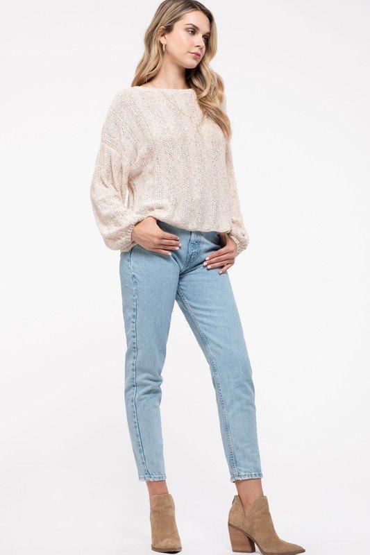 Double Back Tie Sweater, Oatmeal