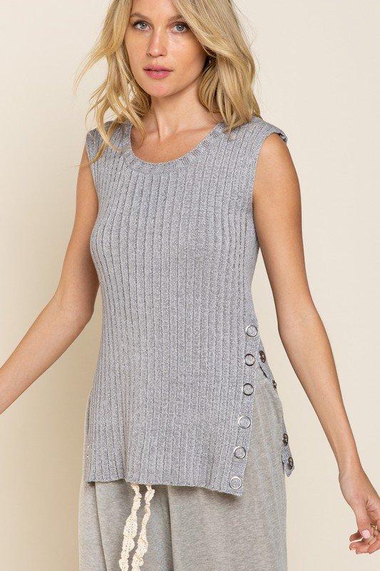 Lightweight Sleeveless Sweater, Heather Grey