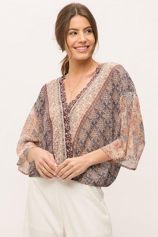 Boarder Print Front Wrap Kimono Blouse, Grey/Teal