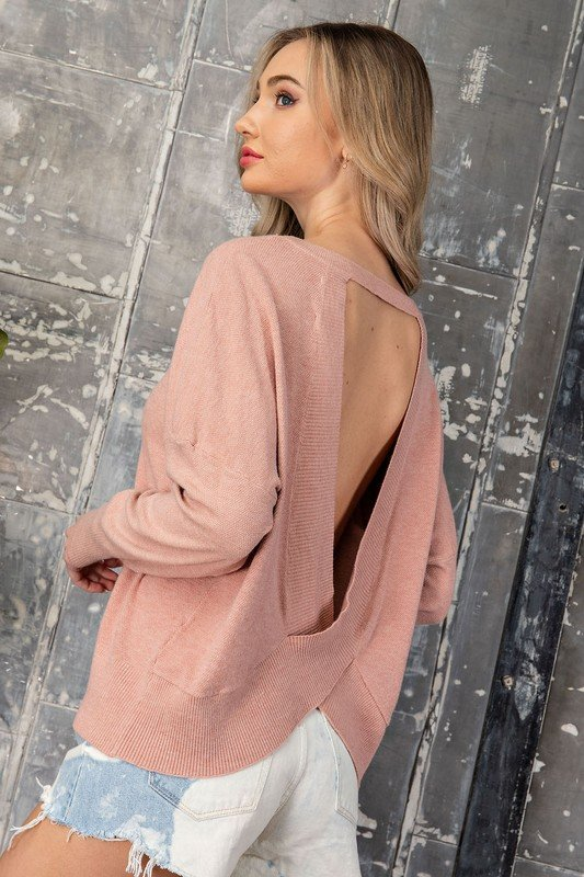 Open Twist Back Sweater, Mauve
