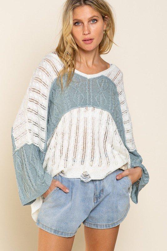 Sweater, Ivory w/Dusty Blue Stripe