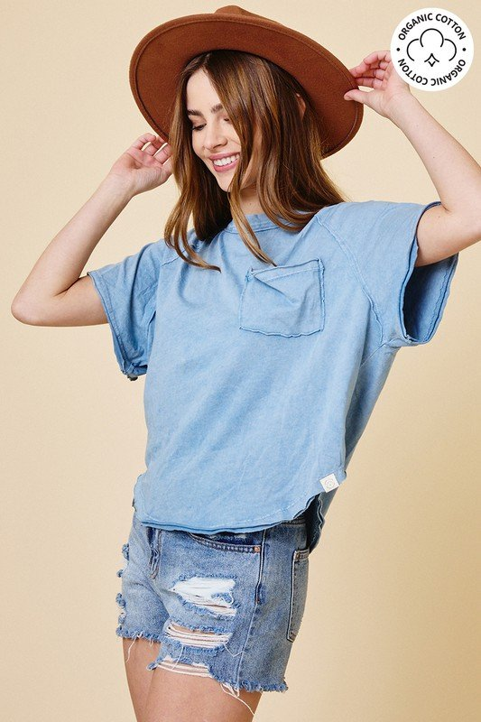 Mineral Washed Crew Neck T-Shirt, LT Chambray