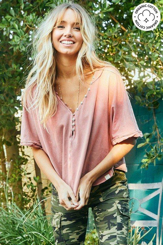 Organic Cotton Oversized ,T-Shirt Grey & Pink