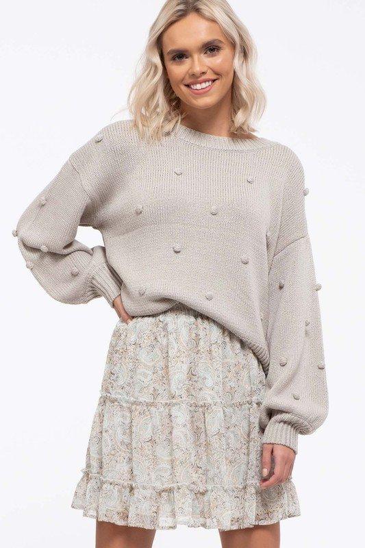 Pompom Knit Sweater, Sage