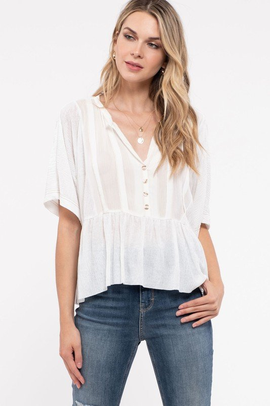 Round Neck Quarter Button Down, Ivory