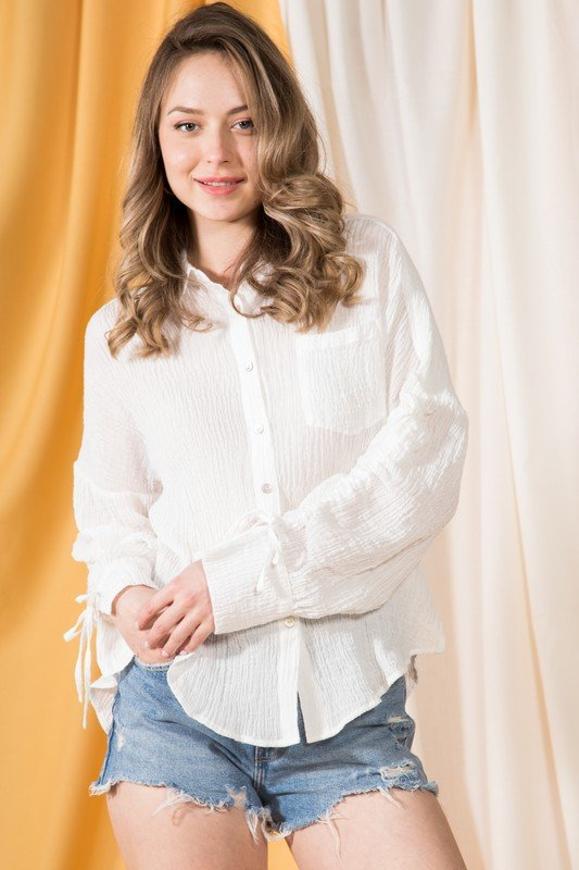 Textured Gauze Ruched Sleeve Button Down Shirt, White