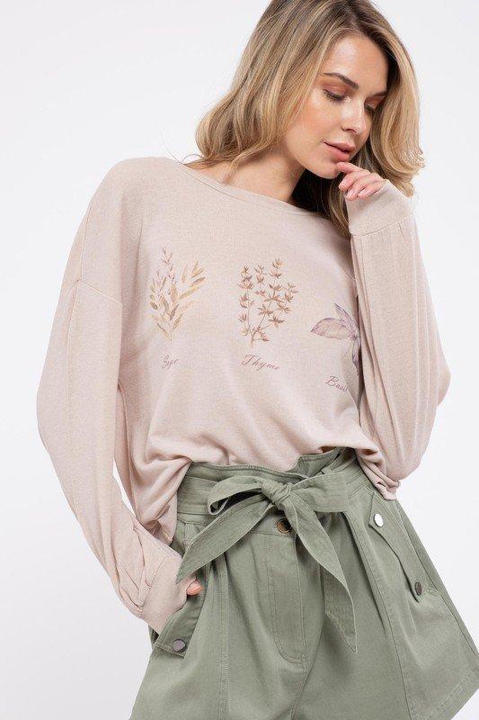 Floral Long Sleeve w/ Back Knot, Beige