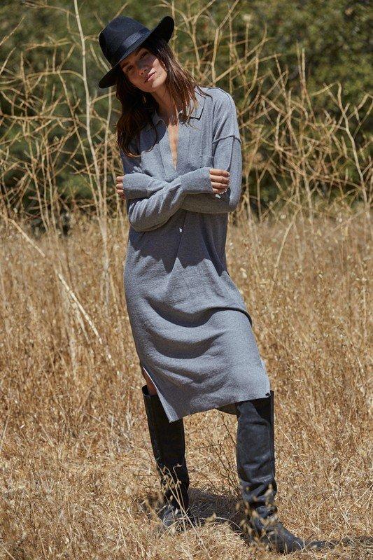 Knit Sweater Long Sleeve Collar Neck Dress, Grey