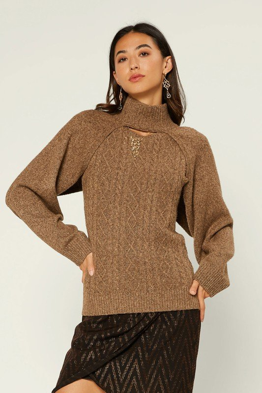 High Neck knit Arm Warmer w/ Cable Knit Tank Set