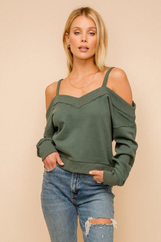 Green Off Shoulder Crop Sweatshirt
