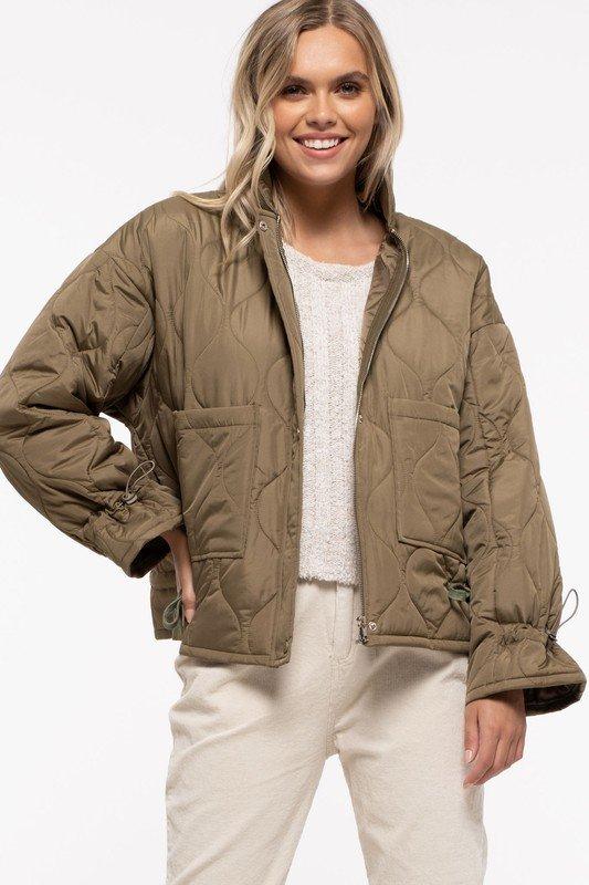 Pocket Quilted Jacket, Olive