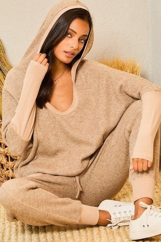 Hoodie Solid Thermal Knit Top