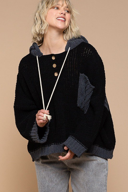 Black /Grey Hooded Sweater