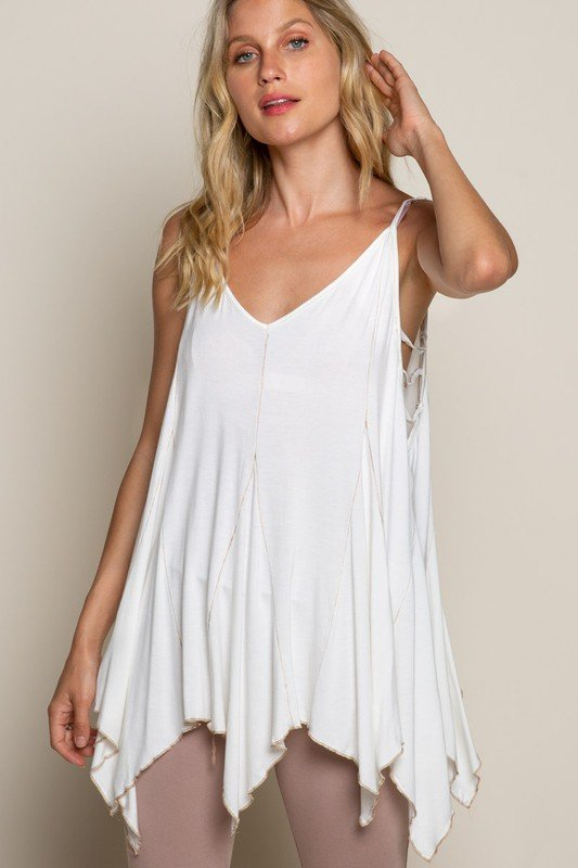 Strappy Side Detail Tank Top w/ Pointed Hem