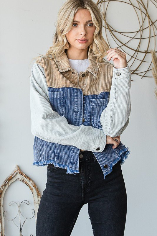 Mix Cord-Washed Button Jacket