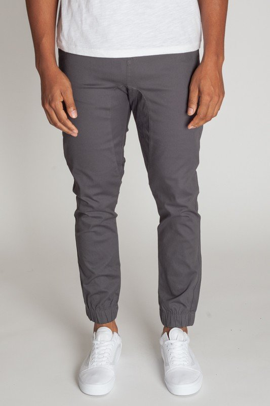 Drop Crotch Twill Jogger, Charcoal