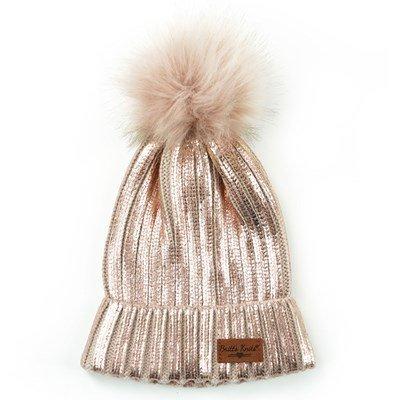 Winter Bennie w/ Pom Pom, Silver & Blush